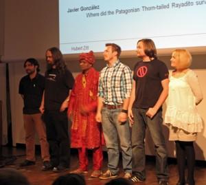 Die Teilnehmer des 1. Mannheimer Science Slam: Javier González, Matthias Rubart, Dr. Siddiqul Haque, Florian Barth, Matthias Luft und Melanie Diermann.