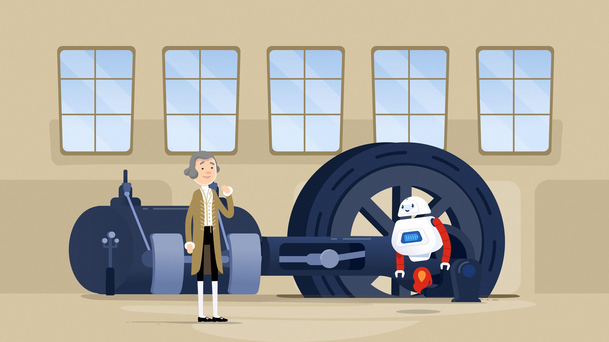 Roboter Paula vor einer Dampfmaschine